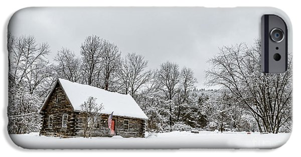 Cabin Window iPhone Cases - Log cabin in the snow iPhone Case by Edward Fielding