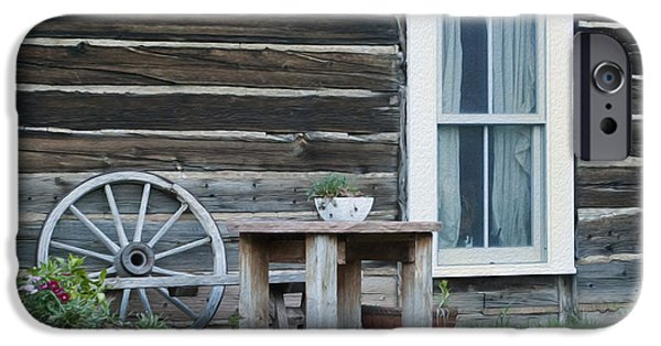 Clapboard House iPhone Cases - Log Cabin iPhone Case by Juli Scalzi