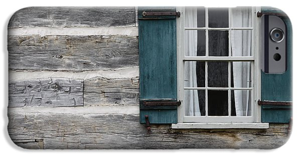 Cabin Window iPhone Cases - Log Cabin iPhone Case by Mike Burgquist