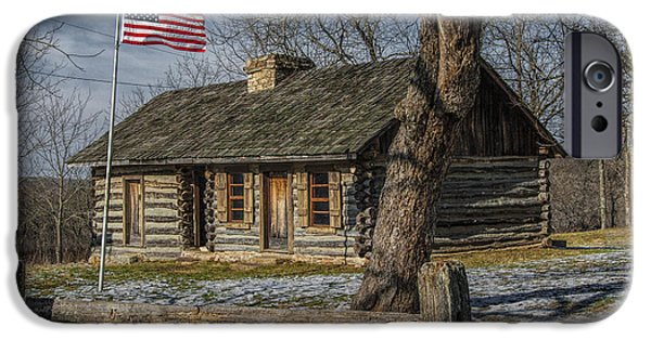 Log Cabin Photographs iPhone Cases - Log Cabin Outpost in Missouri with American Flag iPhone Case by Randall Nyhof