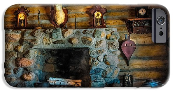 Log Cabin Interiors iPhone Cases - Log Cabin with Fireplace iPhone Case by Paul Freidlund