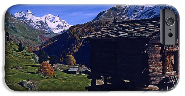 Log Cabins iPhone Cases - Log Cabins On A Landscape, Matterhorn iPhone Case by Panoramic Images