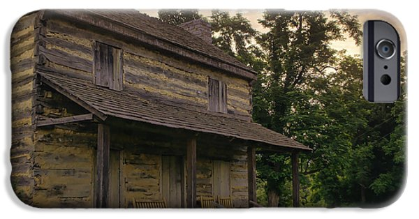 Log Cabin Photographs iPhone Cases - Log House Dusk iPhone Case by Heather Applegate