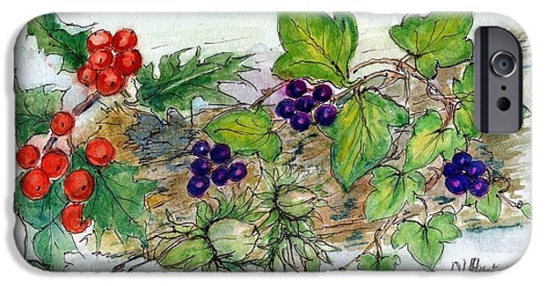 Berry iPhone Cases - Log Of Ivy, Holly And Hazelnuts Wc On Paper iPhone Case by Nell Hill