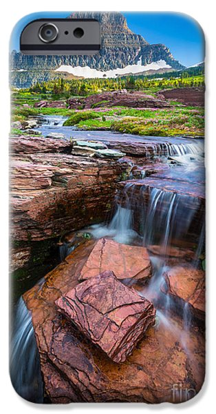 Pacific Northwest Rivers iPhone Cases - Logan Pass Waterfall iPhone Case by Inge Johnsson