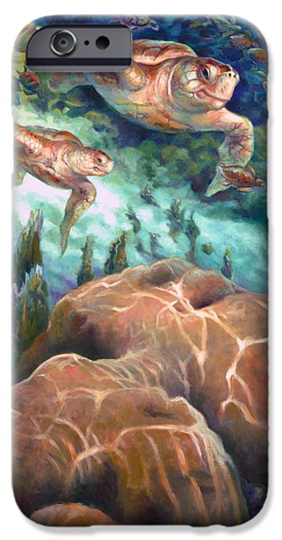 Brain Paintings iPhone Cases - Loggerhead Sea Journey I iPhone Case by Nancy Tilles