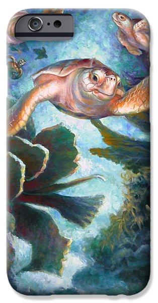 Brain Paintings iPhone Cases - Loggerhead Sea Journey II iPhone Case by Nancy Tilles