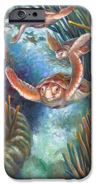 Brain Paintings iPhone Cases - Loggerhead Sea Journey III iPhone Case by Nancy Tilles