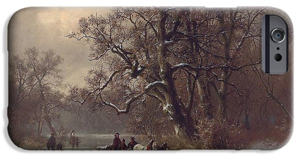 Country Snow iPhone Cases - Loggers on a frozen waterway iPhone Case by Heinrich Hofer