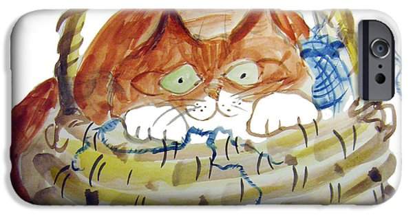 Basket Ball Paintings iPhone Cases - Lois Hides in the Basket of Knitting iPhone Case by Ellen Miffitt