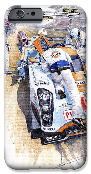 Gulf iPhone Cases - Lola Aston Martin LMP1 Gulf Team 2009 iPhone Case by Yuriy  Shevchuk
