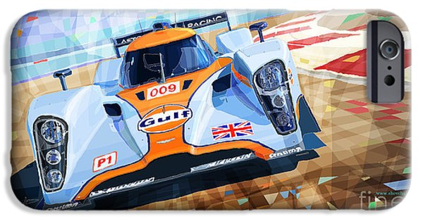 Racing Mixed Media iPhone Cases - Lola Aston Martin LMP1 Racing Le Mans Series 2009 iPhone Case by Yuriy  Shevchuk