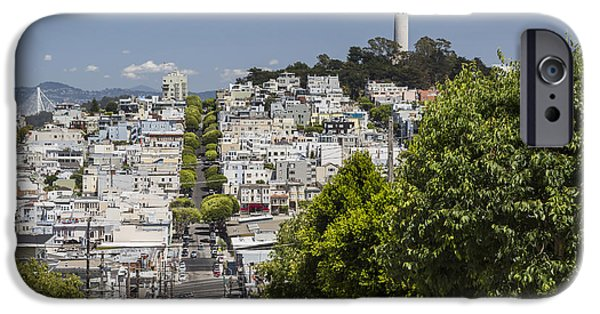 Bay Bridge iPhone Cases - Lombard Street and Coit Tower on Telegraph Hill iPhone Case by Adam Romanowicz