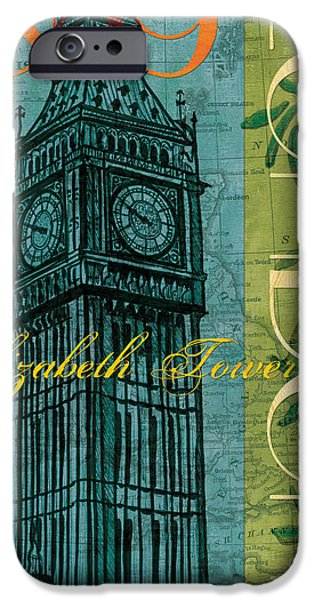 Maps Paintings iPhone Cases - London 1859 iPhone Case by Debbie DeWitt