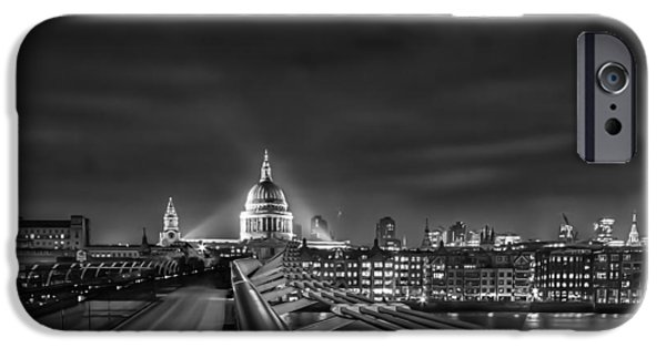 River View iPhone Cases - London black and white iPhone Case by Ian Hufton