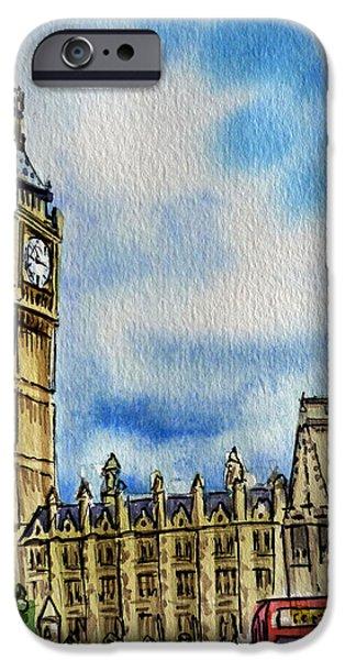 Clock iPhone Cases - London England Big Ben iPhone Case by Irina Sztukowski