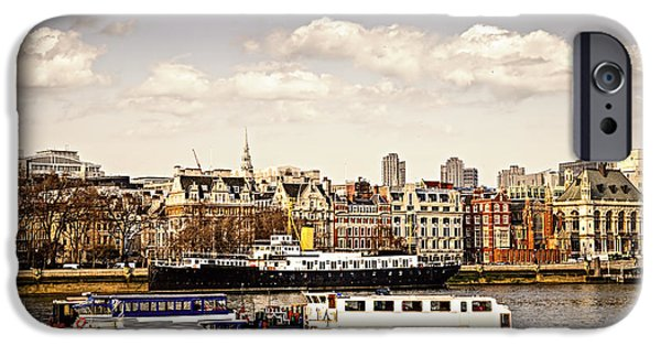 Boat Cruise iPhone Cases - London from Thames river iPhone Case by Elena Elisseeva
