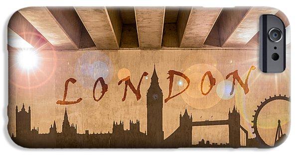Graphic Design iPhone Cases - London Graffiti Landmarks iPhone Case by Semmick Photo