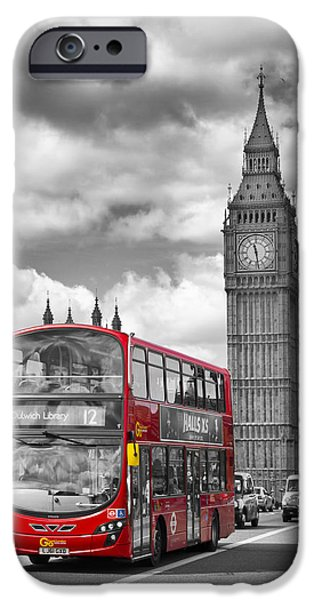 Old Town Digital iPhone Cases - LONDON - Houses of Parliament and Red Bus iPhone Case by Melanie Viola
