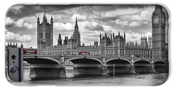 Decorative Digital Art iPhone Cases - LONDON - Houses of Parliament and Red Buses iPhone Case by Melanie Viola