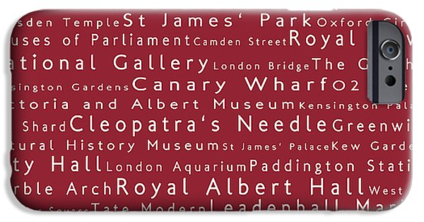 Abbey Road iPhone Cases - London in Words Red iPhone Case by Sabine Jacobs