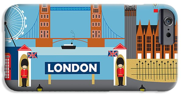 Telephone iPhone Cases - London England Skyline Style O-LON iPhone Case by Karen Young