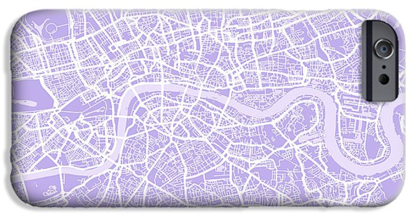 Great Britain iPhone Cases - London Map Lilac iPhone Case by Michael Tompsett