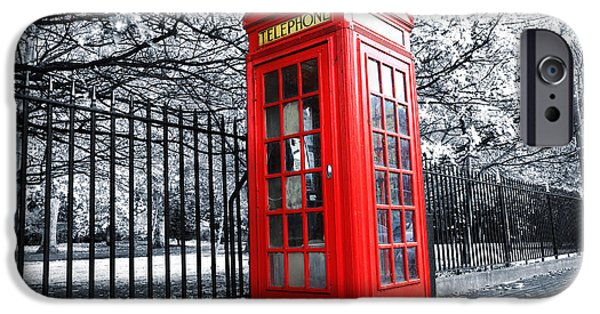Boxes iPhone Cases - London Phone Box iPhone Case by Simon Kayne