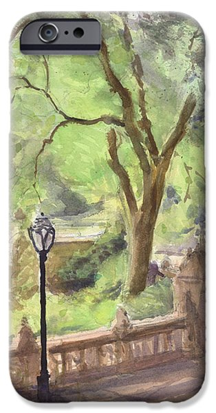Park Scene Paintings iPhone Cases - London Plane Bethesda Terrace iPhone Case by Walter Lynn Mosley