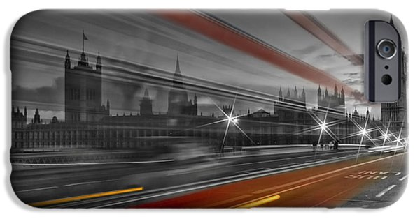 Evening Digital Art iPhone Cases - LONDON Red Bus iPhone Case by Melanie Viola