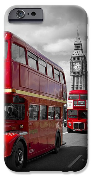 Facade iPhone Cases - LONDON Red Buses on Westminster Bridge iPhone Case by Melanie Viola