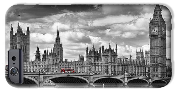 Colorkey iPhone Cases - LONDON River Thames and Red Buses on Westminster Bridge iPhone Case by Melanie Viola
