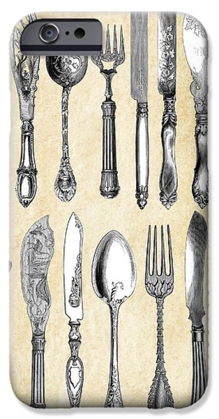 Table Wine Digital iPhone Cases - London Silverware  1851 iPhone Case by Daniel Hagerman