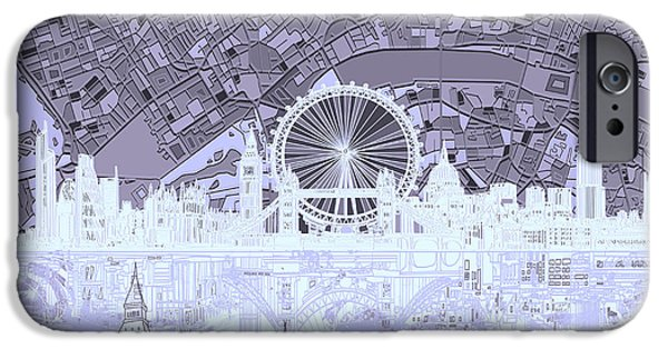 London Map iPhone Cases - London Skyline Abstract 10 iPhone Case by MB Art factory