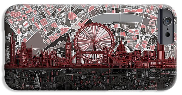 London Map iPhone Cases - London Skyline Abstract 6 iPhone Case by MB Art factory