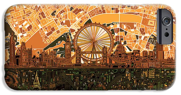 London Map iPhone Cases - London Skyline Abstract 7 iPhone Case by MB Art factory