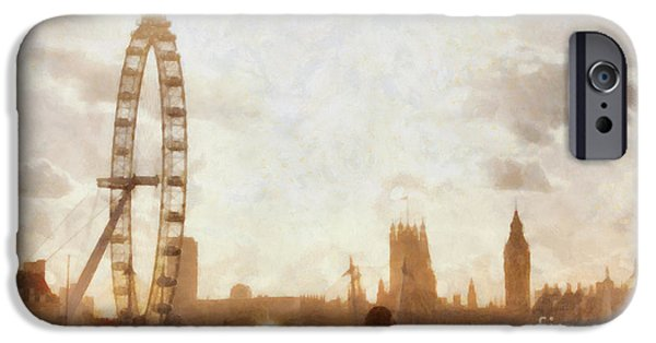 Landmarks Photographs iPhone Cases - London skyline at dusk 01 iPhone Case by Pixel  Chimp