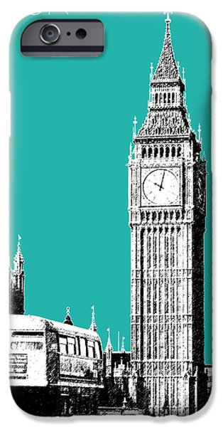 Pen And Ink Digital Art iPhone Cases - London Skyline Big Ben - Teal iPhone Case by DB Artist