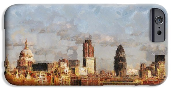 Buildings Mixed Media iPhone Cases - London Skyline from the river  iPhone Case by Pixel Chimp