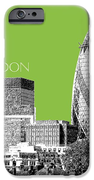 Pen And Ink iPhone Cases - London Skyline The Gherkin Building - Olive iPhone Case by DB Artist