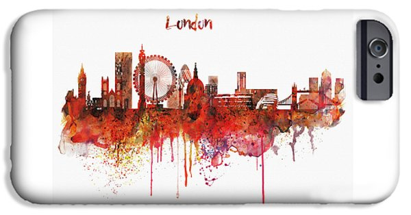 House iPhone Cases - London Skyline watercolor iPhone Case by Marian Voicu
