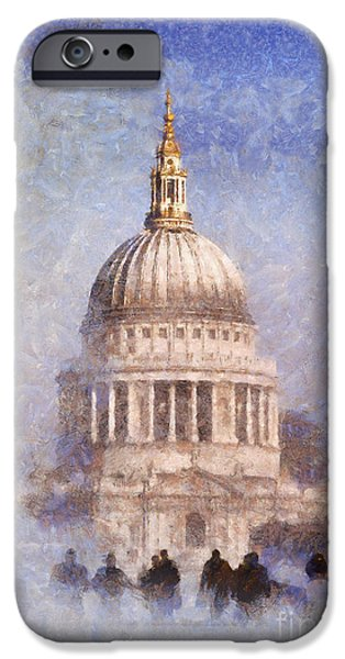 Fog Mist iPhone Cases - London St Pauls fog 02 iPhone Case by Pixel Chimp