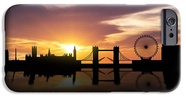 Skyscraper Mixed Media iPhone Cases - London Sunset Skyline  iPhone Case by Aged Pixel