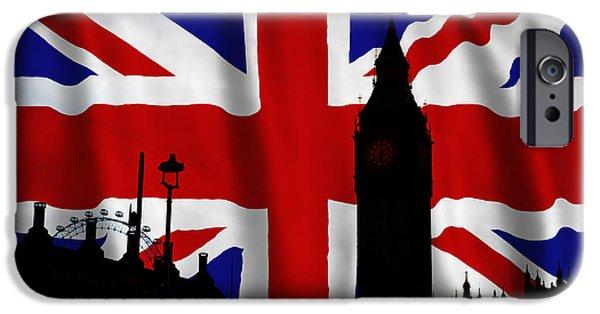 Union Digital Art iPhone Cases - London Union Jack Montage iPhone Case by Tim Gainey