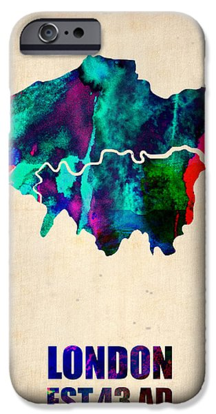 London Watercolor Map 2 iPhone Case by Naxart Studio