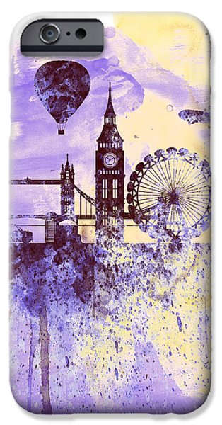 Big Ben iPhone Cases - London Watercolor Skyline iPhone Case by Naxart Studio