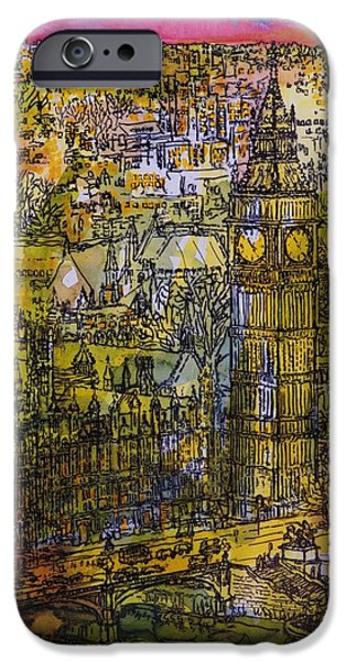 House iPhone Cases - London, Westminster Pen & Ink With Wc On Paper iPhone Case by Brenda Brin Booker