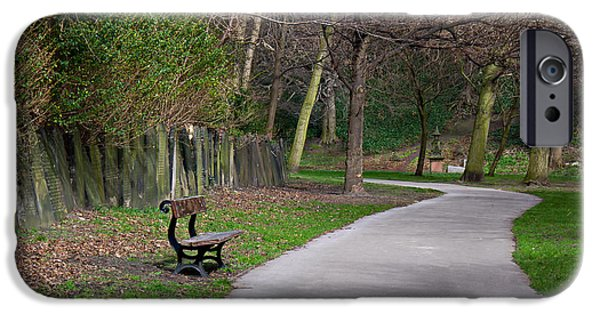 Cemetary iPhone Cases - Lone bench in cemetery iPhone Case by Ken Biggs