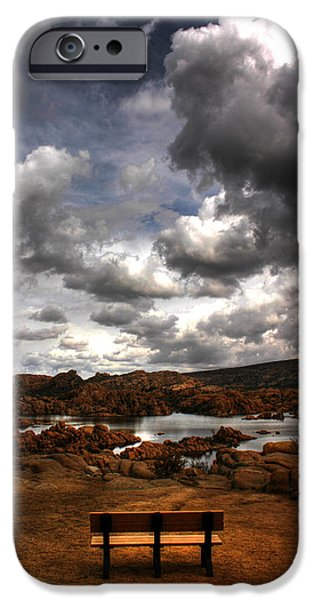 Watson Lake iPhone Cases - Lone Bench in the Dells iPhone Case by Wayne King
