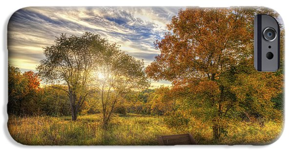 The Nature Center iPhone Cases - Lone Bench Under Tree - Fall Sunset - Retzer Nature Center - Waukesha Wisconsin iPhone Case by Jennifer Rondinelli Reilly